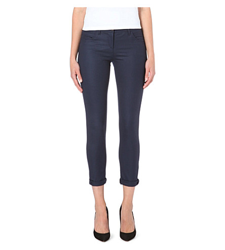 BRUNELLO CUCINELLI Cropped stretch-wool trousers (Navy