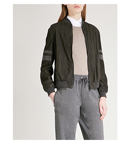 BRUNELLO CUCINELLI Bead-embellished suede bomber jacket (Charcoal