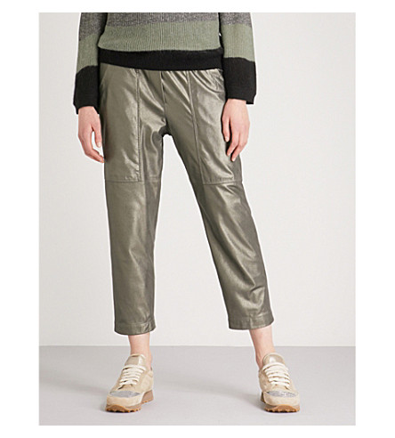 BRUNELLO CUCINELLI Metallic leather jogging bottoms (Dusty+green