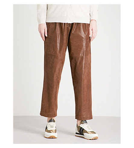 BRUNELLO CUCINELLI Straight cropped leather trousers (Brown