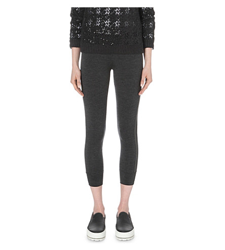 BRUNELLO CUCINELLI Cropped stretch-wool leggings (Anthracite