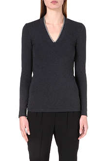 BRUNELLO CUCINELLI Chain-detail v-neck jersey top