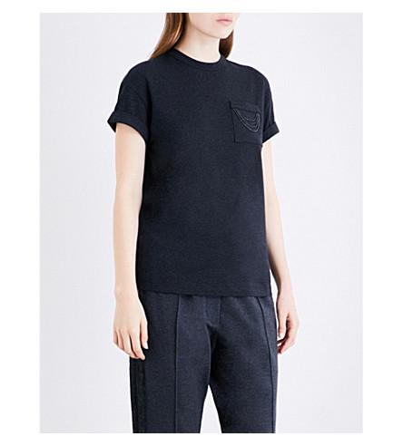 BRUNELLO CUCINELLI Chain-detail stretch-cotton T-shirt (Charcoal