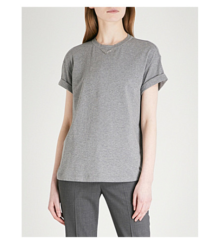 BRUNELLO CUCINELLI Bead-embellished stretch-cotton T-shirt (Medium+grey