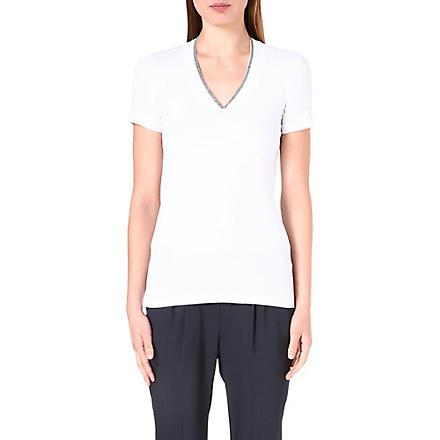 BRUNELLO CUCINELLI Chain-detail v-neck t-shirt (White