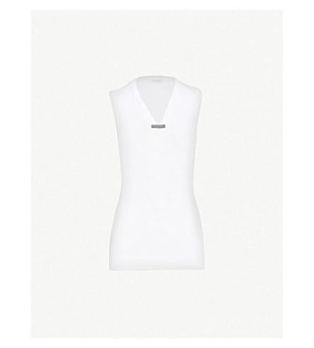 BRUNELLO CUCINELLI Bead-trim cotton-jersey top (White