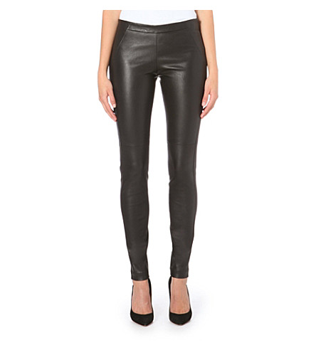 BRUNELLO CUCINELLI Skinny leather trousers (Black