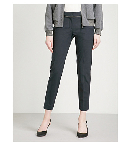 BRUNELLO CUCINELLI Bead-detailed tapered mid-rise stretch wool-blend trousers (Navy