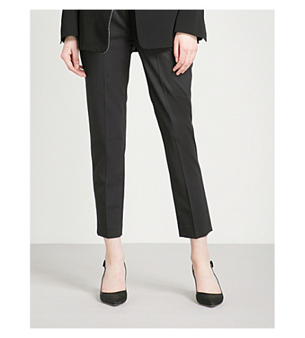 BRUNELLO CUCINELLI Chain-trim tapered virgin wool-blend trousers (Black