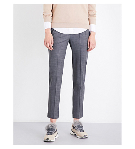 BRUNELLO CUCINELLI Chain-trimmed tapered high-rise virgin wool-blend trousers (Medium+grey