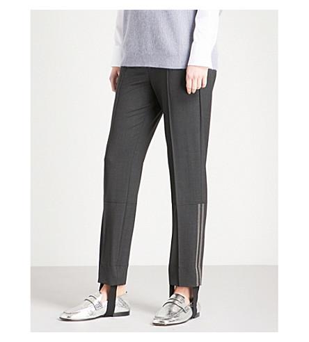 BRUNELLO CUCINELLI Embellished straight-leg wool-blend stirrup trousers (Black+stone