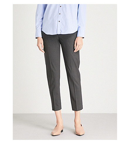 BRUNELLO CUCINELLI Mid-rise cropped wool-blend trousers (Charcoal