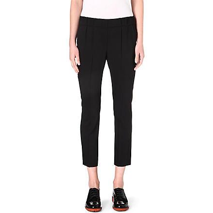 BRUNELLO CUCINELLI Pleated-waist stretch-cotton trousers (Black