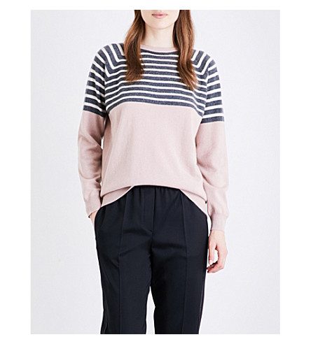 BRUNELLO CUCINELLI Striped cashmere jumper (Frosted+rose