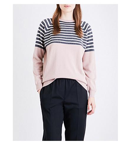 BRUNELLO CUCINELLI Striped cashmere jumper (Frosted+rose