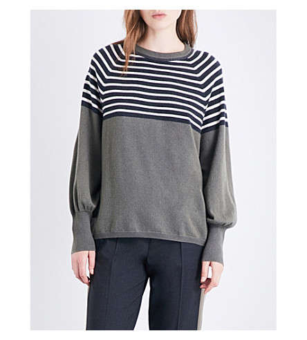 BRUNELLO CUCINELLI Bead-embellished striped cashmere jumper (Military+green