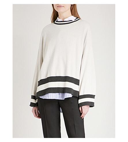 BRUNELLO CUCINELLI Striped oversized cashmere jumper (Avena