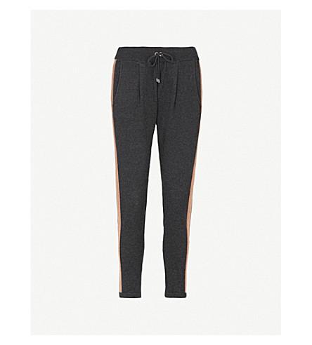BRUNELLO CUCINELLI Bead-embellished cashmere jogging bottoms (Black+stone