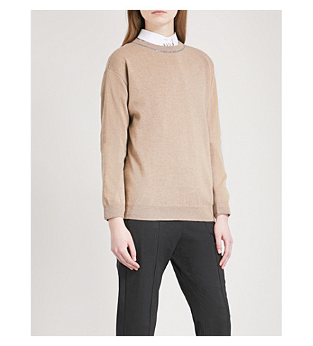 BRUNELLO CUCINELLI Embellished cashmere jumper (Nutmeg