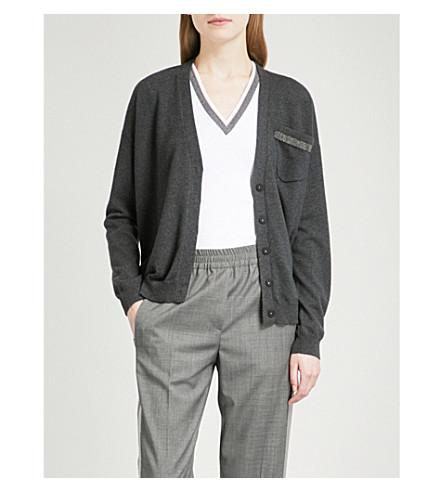 BRUNELLO CUCINELLI V-neck bead-embellished cashmere cardigan (Black+stone