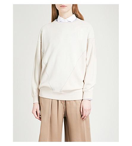 BRUNELLO CUCINELLI Oversized bead-embellished cashmere jumper (Milk+bianco+avena
