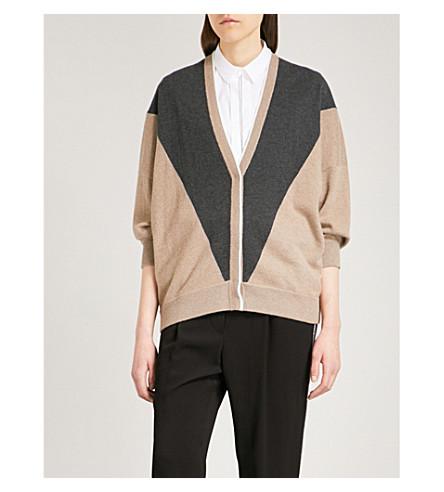 BRUNELLO CUCINELLI Colour-block cashmere cardigan (Nutmeg+black+stone