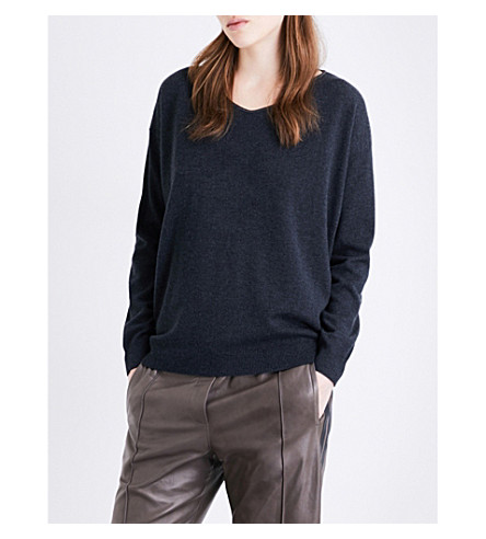 BRUNELLO CUCINELLI V-neck cashmere jumper (Black+stone
