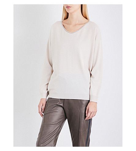 BRUNELLO CUCINELLI V-neck cashmere jumper (Milk