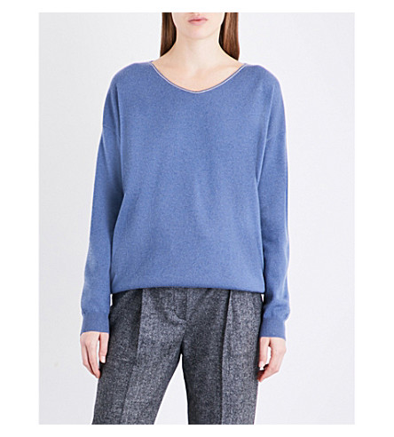 BRUNELLO CUCINELLI V-neck cashmere jumper (Oxford+blue