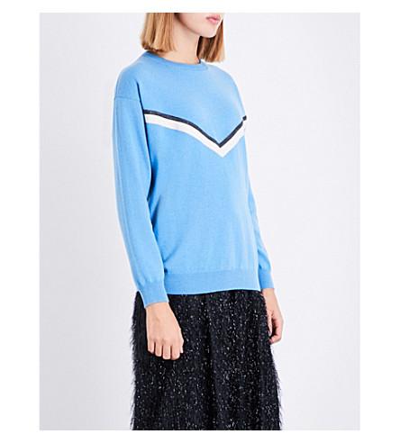 BRUNELLO CUCINELLI Bead-embellished cashmere jumper (Blue
