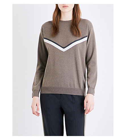 BRUNELLO CUCINELLI Bead-embellished cashmere jumper (Mud