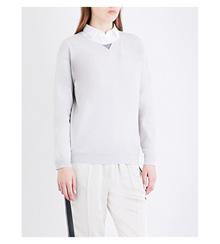 BRUNELLO CUCINELLI Bead-embellished cashmere jumper (Salt