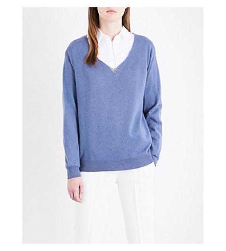 BRUNELLO CUCINELLI Chain-embellished V-neck cashmere jumper (Oxford+blue