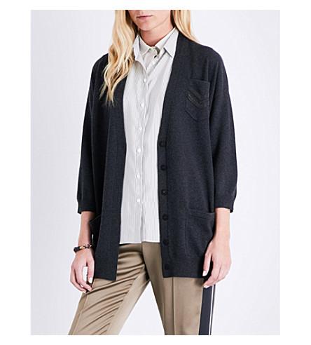 BRUNELLO CUCINELLI V-neck cashmere cardigan (Black+stone
