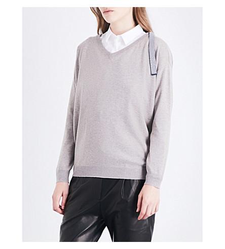 BRUNELLO CUCINELLI V-neck cashmere jumper (Taupe