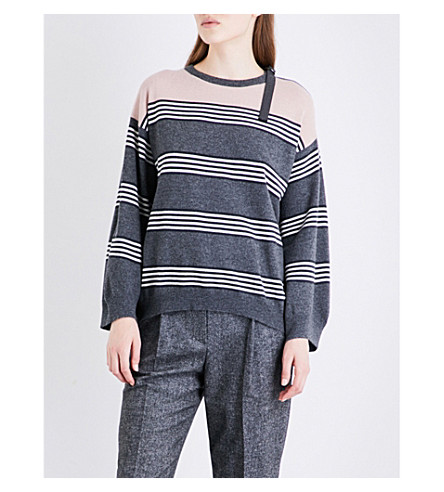 BRUNELLO CUCINELLI Striped cashmere jumper (Frosted+rose+/+grey