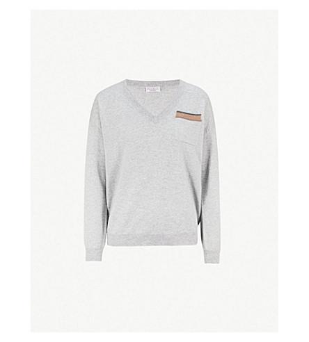 BRUNELLO CUCINELLI Pocket-detail cashmere jumper (Stone