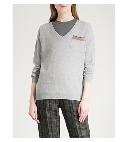 BRUNELLO CUCINELLI Pocket-detail cashmere jumper (Stone