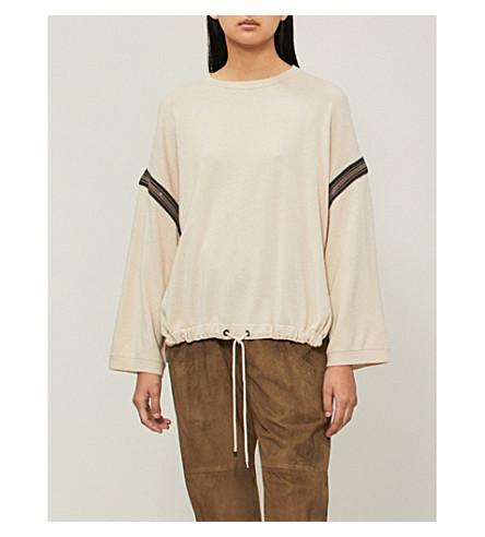 BRUNELLO CUCINELLI Bead-embellished drawstring-hem cashmere jumper (Beige