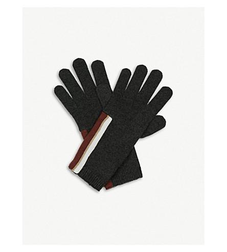 BRUNELLO CUCINELLI 条纹羊绒手套 (黑 + 石