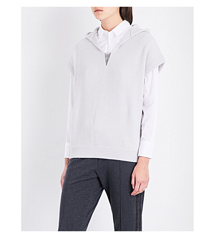 BRUNELLO CUCINELLI Chain-embellished V-neck cashmere hoody (Salt