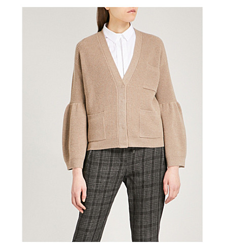 BRUNELLO CUCINELLI Flared-sleeve cashmere cardigan (Nutmeg