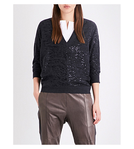 BRUNELLO CUCINELLI Sequin-embellished cashmere jumper (Black+stone