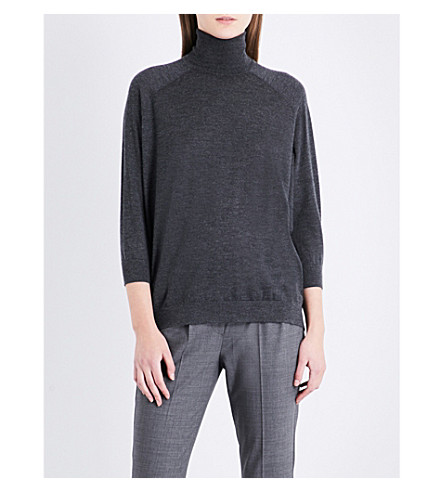 BRUNELLO CUCINELLI Turtleneck cashmere and silk-blend jumper (Black