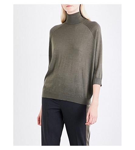 BRUNELLO CUCINELLI Turtleneck cashmere and silk-blend jumper (Military+green