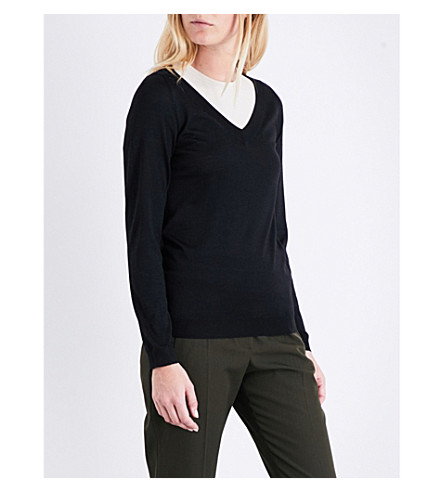 BRUNELLO CUCINELLI V-neck cashmere and silk-blend jumper (Black