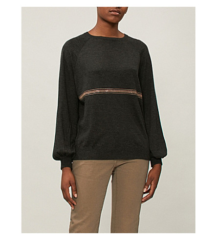 BRUNELLO CUCINELLI 条纹细节羊绒和真丝毛衣 (木炭