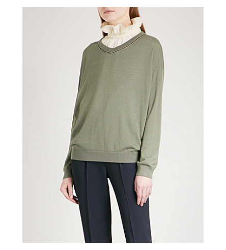 BRUNELLO CUCINELLI Bead-embellished V-neck cashmere and silk-blend jumper (Dusty+green