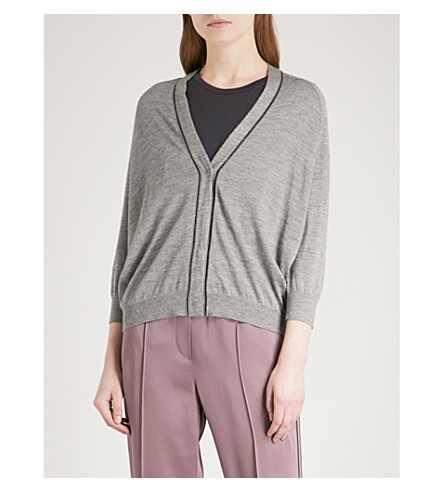 BRUNELLO CUCINELLI Bead-embellished cashmere and silk-blend cardigan (Medium+grey