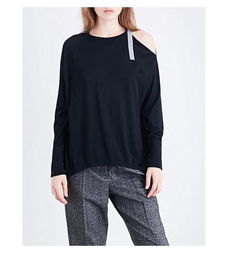 BRUNELLO CUCINELLI Buckled cold-shoulder cashmere and silk-blend jumper (Black